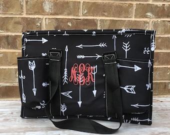 Personalized monogram Carryall Utility Medium Tote,  Organizer Bag for Teachers Nurses Football Soccer Moms, teacher gift, nurse tote
