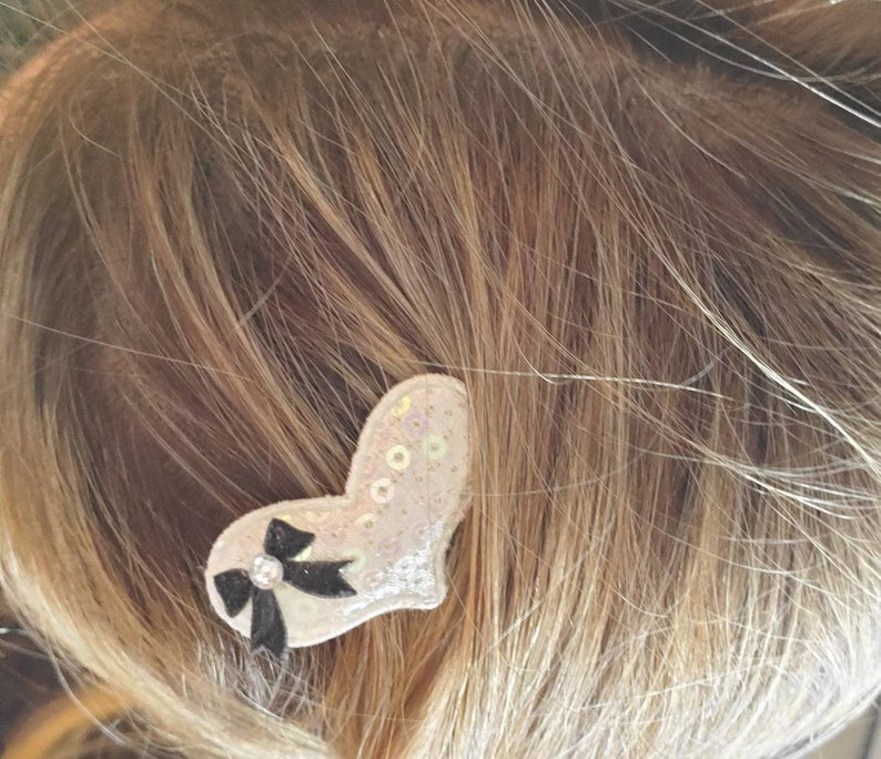 Set of Two Heart Clippies Sequin Hearts with Bows Pig Tails Clips Heart Clips