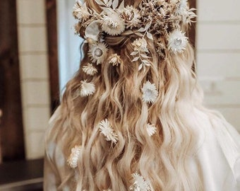 Botanical Hair Piece Vintage White Dried Floral Hair Comb one of a kind bridal hair accessory