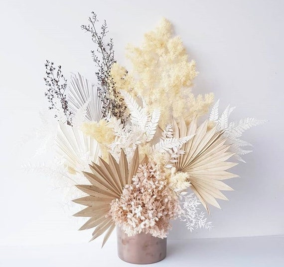 Pastel Neutral Dried Sun Palm Bouquet Dried Palm Flower Etsy