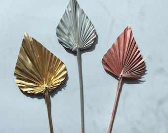 5 - 10 - 20 Dried Metallic Gold Silver Rose Gold Palm Spear - Floral Decoration - DIY Palm Leaves - Wedding Decor - Party Palm Decor