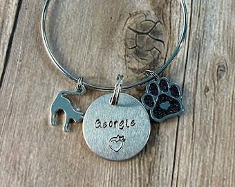CAT NAME BRACELET, Personalized Pet Name Bracelet, Cat Mom Gift, Custom Hand Stamped Gift