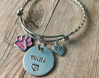BRAIDED CHARM BRACELET, Personalized Pet Name Bracelet, Braided Fur Baby Bracelet, Dog or Cat Mom gift, Custom Hand Stamped gift