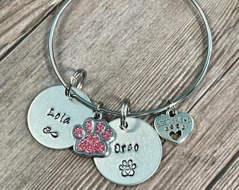 CUSTOM PET BRACELET, Pet name Bracelet, Dog Lover Jewelry, Pet Memorial Bangle, Hand Stamped Bangle, Personalize Jewelry