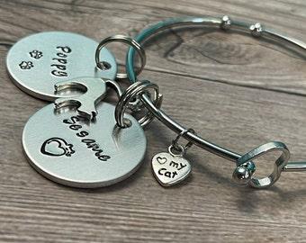 PET HEART BRACELET, Personalized Pet Name Bracelet, Fur Baby Charm Bracelet, Dog or Cat Mom gift, Custom Hand Stamped gift