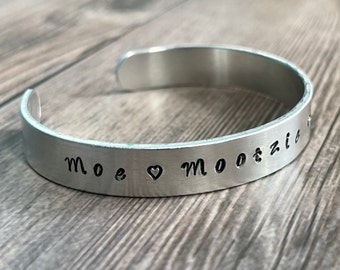 PERSONALIZED CUFF BRACELET, Hand Stamped Pet Bracelet, Customized Fur Baby Bracelet, Hand Stamped Gift, Gift for Moms