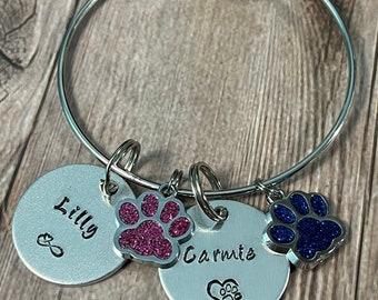 CHILD CHARM BRACELET, Personalize Bracelet, Hand Stamped Gift, Pet Name Bracelet, Fur Baby Bangle, Personalize Jewelry, Dog Paw Bracelet