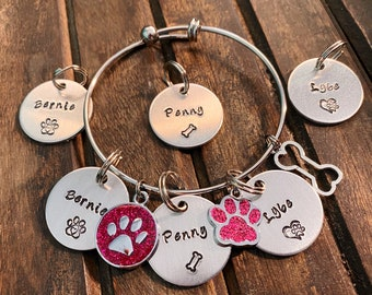 BRACELET & TAG COMBO, Personalized Pet Name Bracelet with name tag, Dog or Cat Mom gift, Custom Hand Stamped gift
