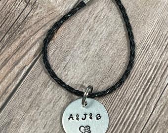 PET CHARM BRACELET, Leather Cord Bracelet, Customized Fur Baby Bracelet, Hand Stamped Gift