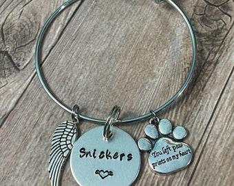 PET LOSS BRACELET, Pet Name Bracelet, Rainbow Bridge dog, Hand Stamped Bangle, Pet Memorial Bangle, Handmade Bracelet