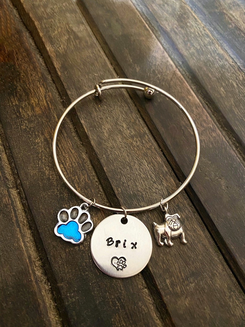 CHILD  Personalized Pet Name Bracelet Fur Baby Charm image 0