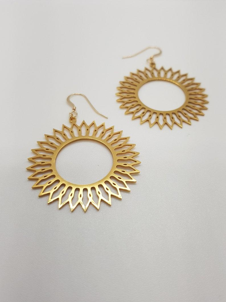 very light mandalagold stainless steel pendant earrings gold filled gold 14K anti-allergen earrings