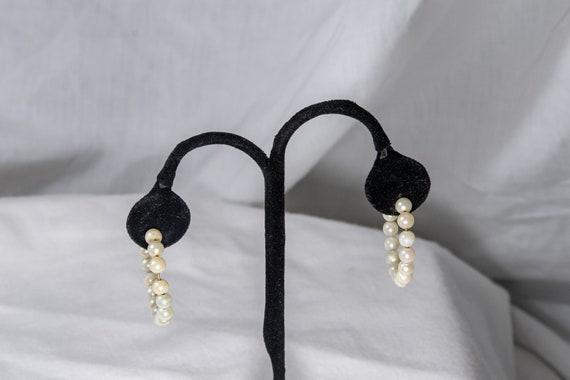 14k Yellow Gold and Pearl Hoop Earrings