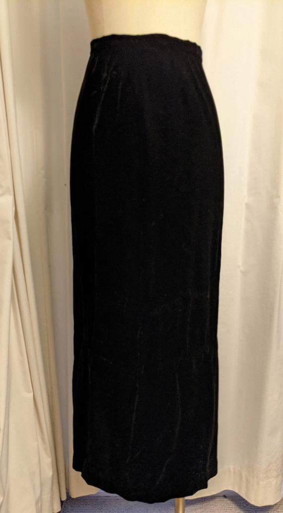 Vintage 1990s Laura Ashley Style Black Velvet Ski… - image 4