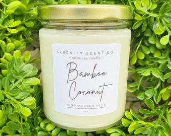 Bamboo & Coconut Candle | Handmade Soy Candle | Candles | Jar Candle | 100% Soy Wax | Bamboo Candle | Coconut Candle
