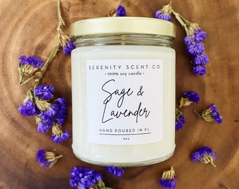 Sage & Lavender  | Handmade Soy Candle | 100% Soy Wax