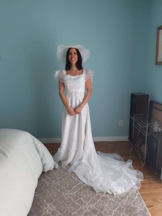 1970s Wedding Dress with Hat