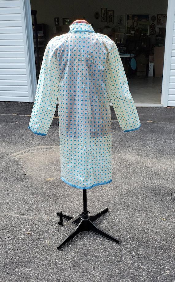 1960s Clear Vinyl Raincoat / Blue Polka Dots / Si… - image 7