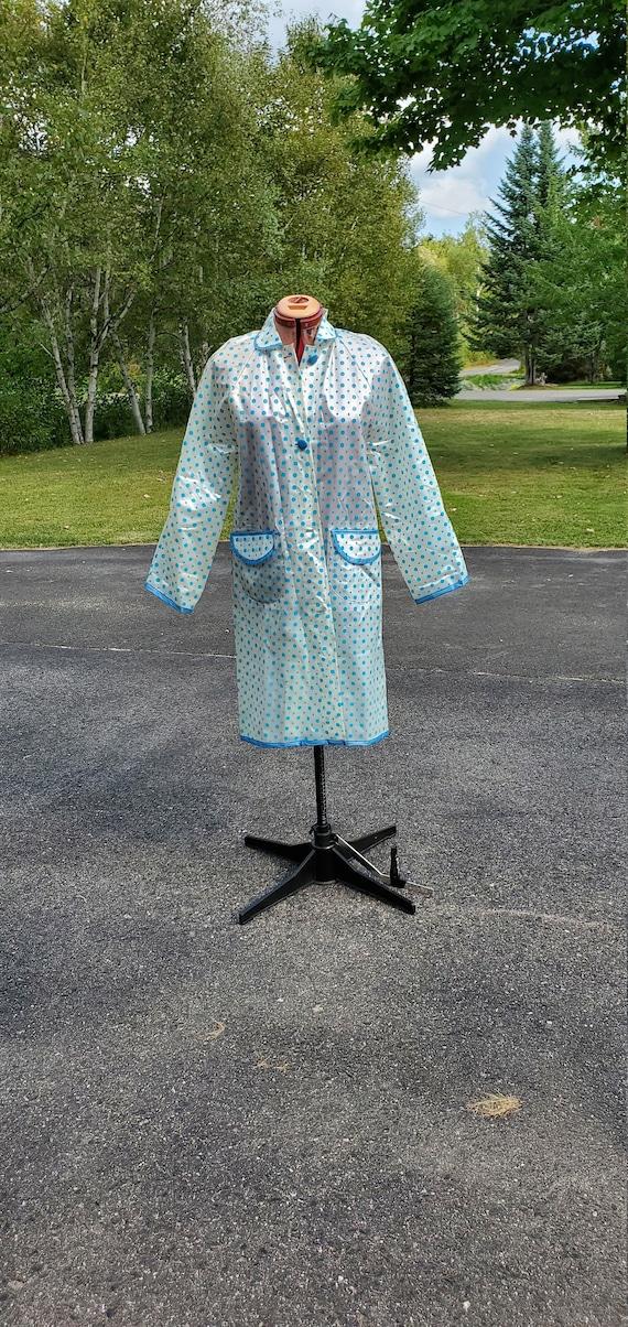 1960s Clear Vinyl Raincoat / Blue Polka Dots / Siz