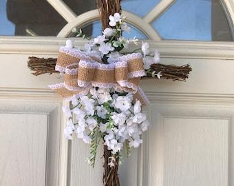 Easter Cross Wreath Dandelion Rose Cross Spring Cross Wreath Floral cross Floral Cross Wreath, Easter Handmade  Cross,Spring Cross