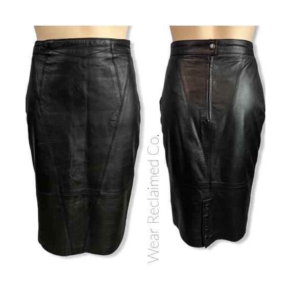 VINTAGE 80s High Waisted Black Leather Skirt | Par