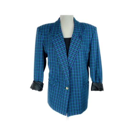 VINTAGE TAN JAY 80's Boxy Wool Blend Blue Black Tw