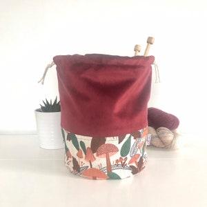 PyjamasYarn Bag Sweater Size KnittingCrochet Project Bag 5 to 6 skeins Elizabeth Large Drawstring bag in velvet and cotton fabric
