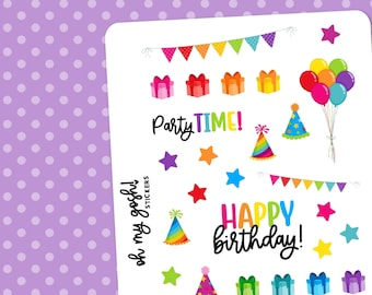 BIRTHDAY PARTY    Decorative Planner Stickers    S203