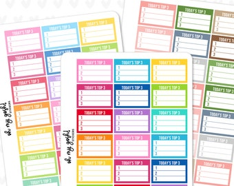 TODAY'S TOP 3 Half Box Planner Stickers    Large Sticker Sheet    S165