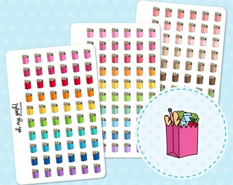 GROCERY BAG Doodle Icon Planner Stickers    I82