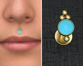 Gold Plated Turquoise Crescent Moon Lip Labret