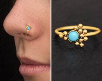 Surgical Steel Nose Ring with Turquoise Nose Stud Earring