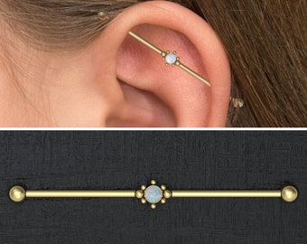 16g 14g Gold Tribal Sun Opal Industrial Barbell Scaffold Piercing