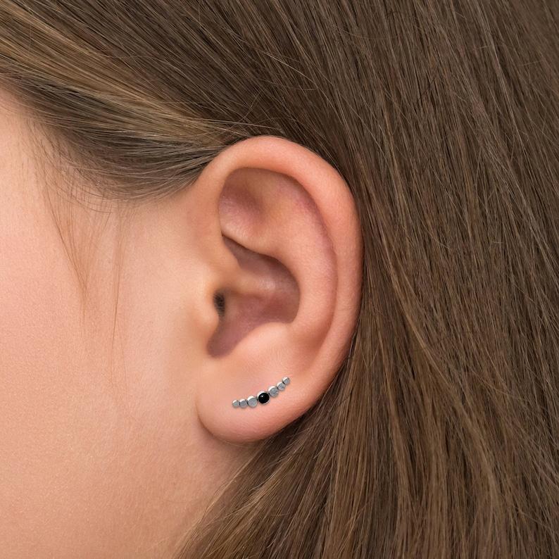 Ear Sweep Onyx Climbing Ear Cuff Earrings Surgical Steel Ear Vine Ear Pin Ear Crawler Earring Ear Climber Earrings Curved Earring