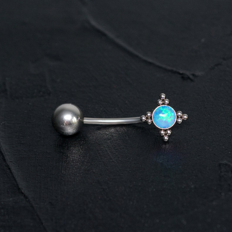 Opal Belly Button Piercing Belly Bar Curved Barbell Ring Body Piercing Jewelry 16g 14g Navel Stud Navel Ring Surgical Steel