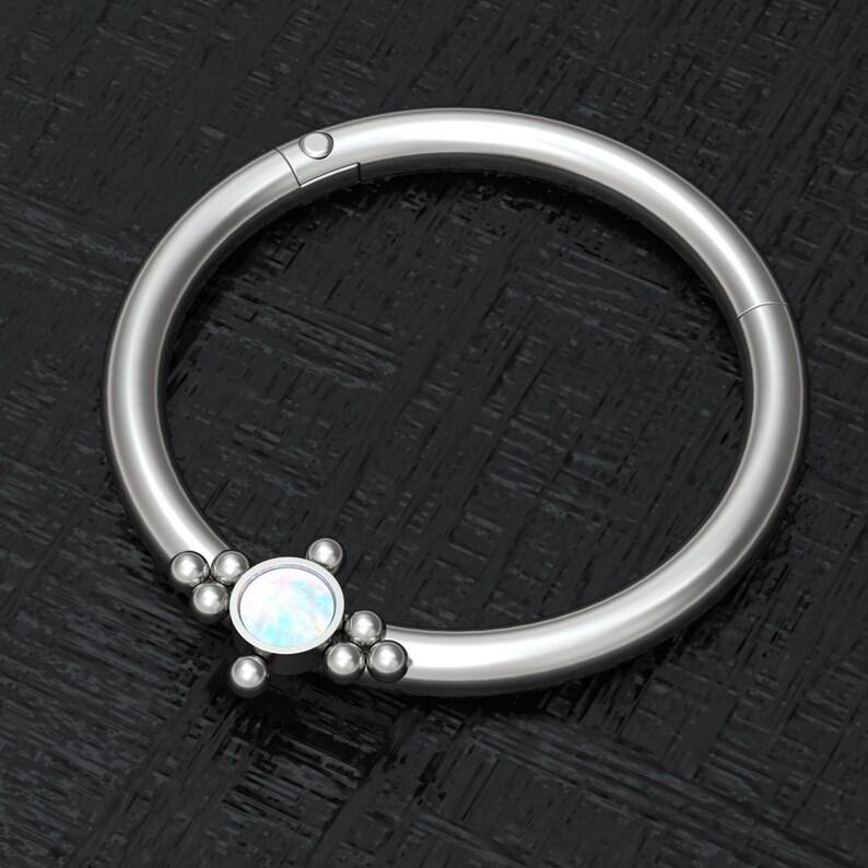 Body Jewelry Implant Grade Nipple Piercing Opal Nipple Ring Hoop Body Piercing Earring Nipple Earring Titanium Nipple Click Hoop