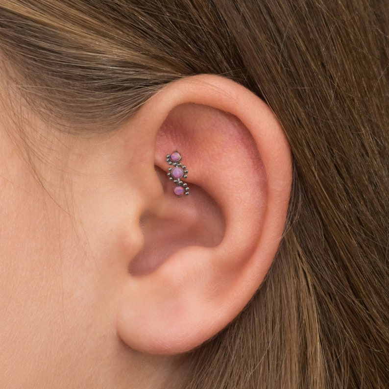 Forward Helix Ring Cartilage Hoop Earring Titanium Conch Piercing Tragus Ring Clicker Hoop Rook Clicker Opal Tragus Hoop 18g 16g
