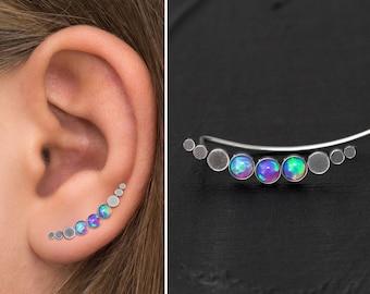 Surgical Steel Ear Crawler Earrings, Opal Climber Earrings, Vine Earrings, Ear Sweep, Climbing Ear Cuff Earrings, Curved Stud Earring