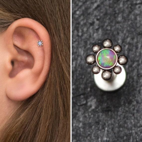 Cartilage Studs Single or Pair Titanium Opal Earrings