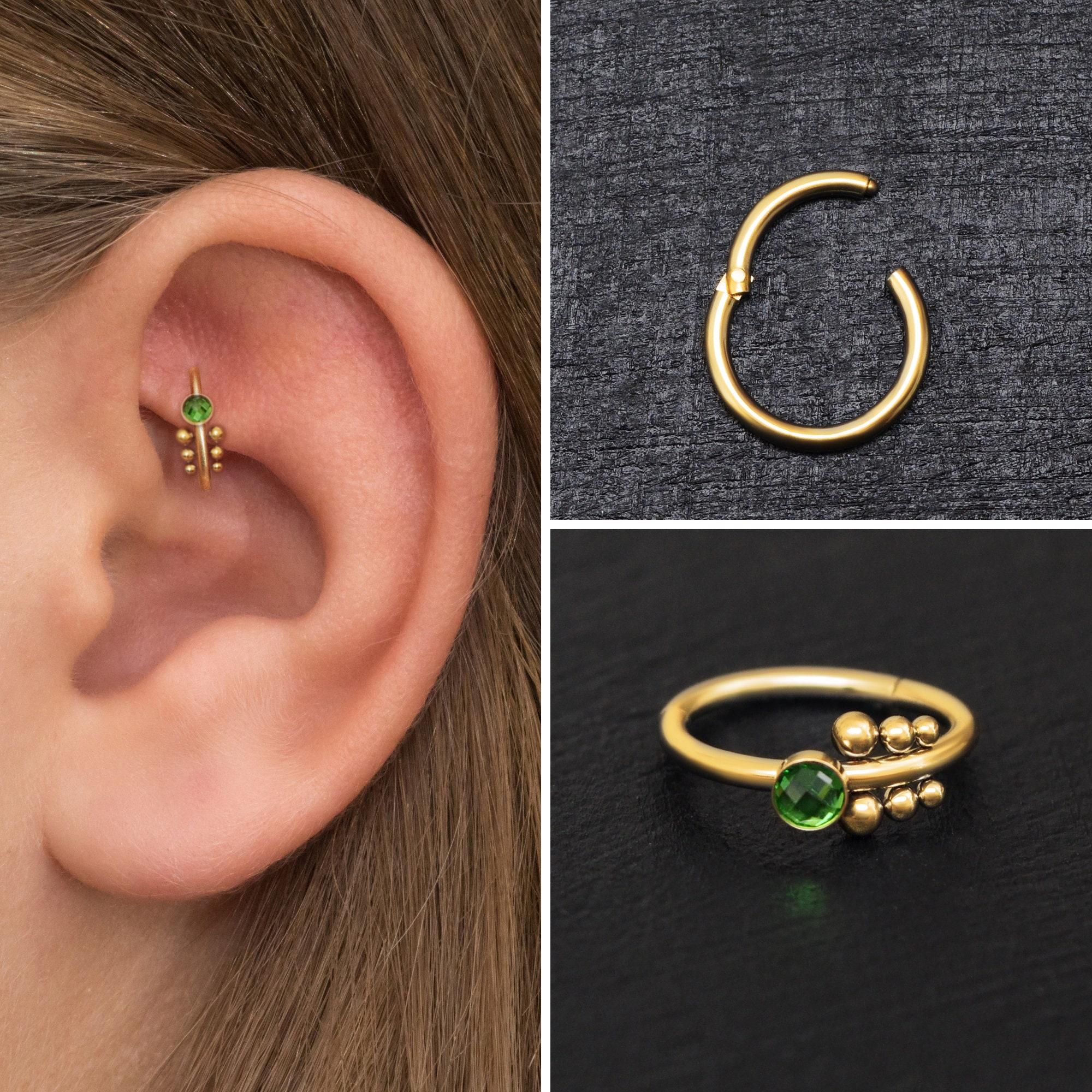 Surgical Steel Tragus Earring Hoop Forward Helix Piercing Opal Cartilage Piercing Rook Clicker Hoop Conch Piercing Rook Piercing