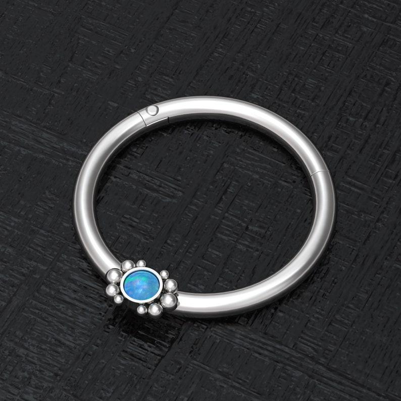 Implant Grade Nipple Ring Opal Nipple Hoop Jewelry Nipple Jewelry Piercing Titanium Nipple Click Hoop Body Piercing Earring