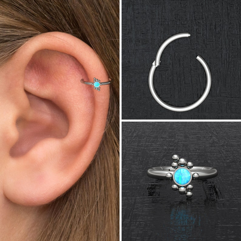 Clicker Hoop Opal Rook Earring Titanium Implant Grade Forward Helix Clicker Tragus Earring Conch Ring Tragus Piercing Cartilage Ring