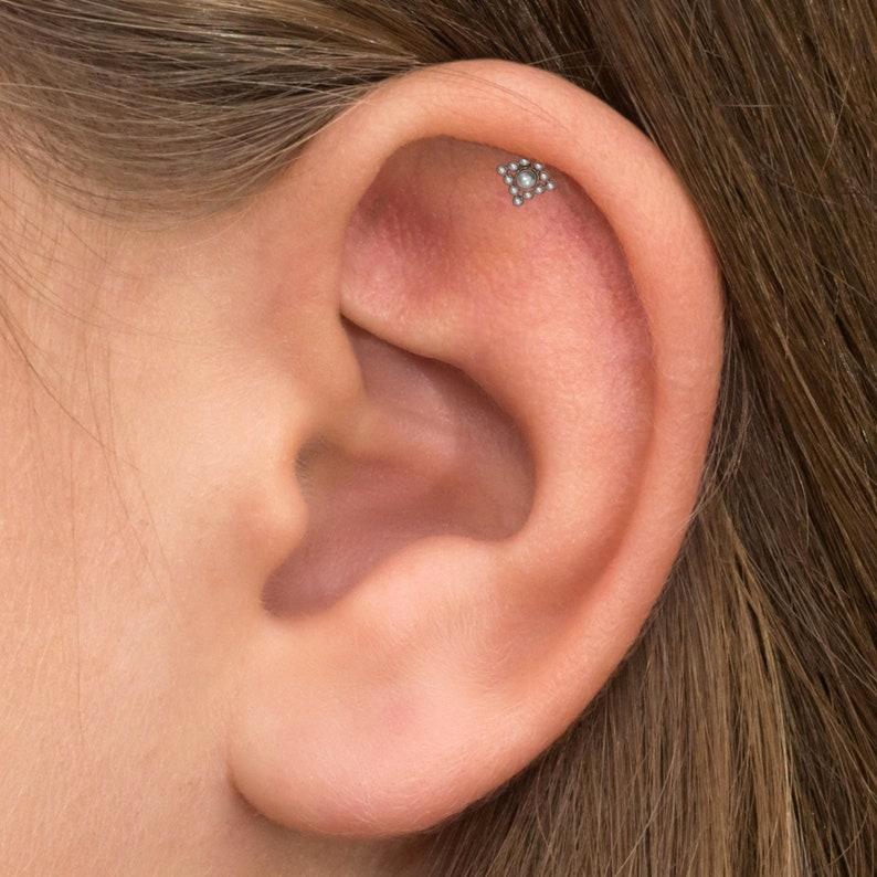 Cartilage Stud Earring Tragus Bar Cartilage Barbell Piercing Conch Stud Tragus Earring Titanium Implant Grade Forward Helix Bar