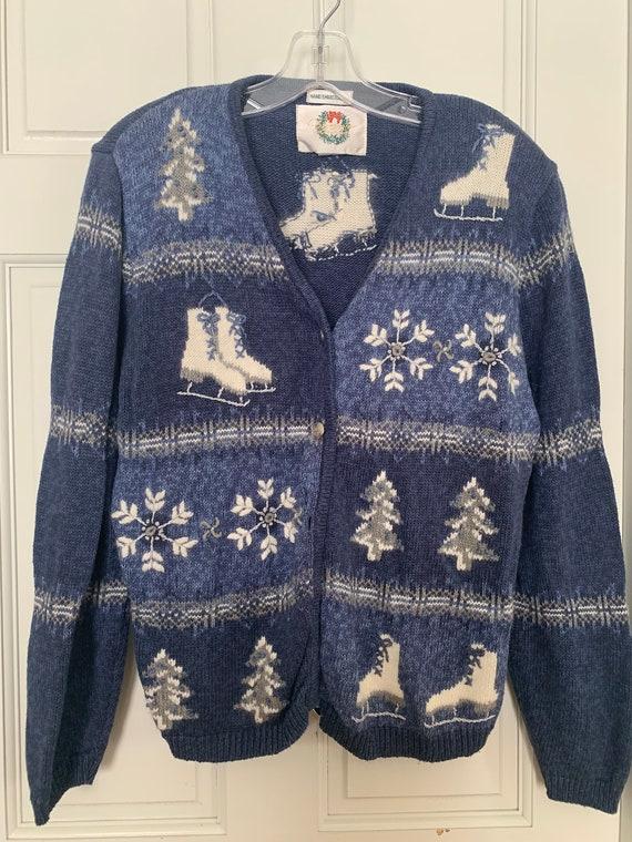 Vintage Christopher & Banks Ice Skating Sweater