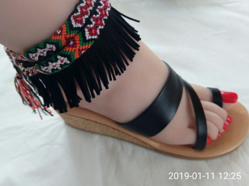 Greek platform sandals in real leather with SOFT-BETT-SOLE