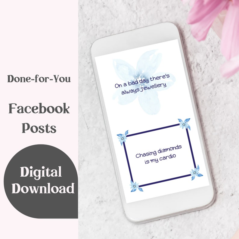 Jewellery Quotes Blue Floral Design Month of Facebook Posts