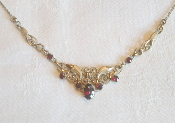 Art Nouveau Oresto Garnet Necklace 1920 Collier Ga