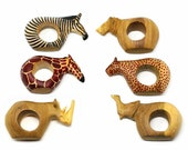 Mahogany Wood Animal Napkin Rings Set of 6 , Small Wooden Animals , Animal Napkin Ring Set