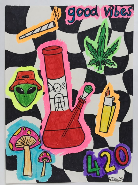 Stay High Original 420 Artwork Psychedelic Drawing Etsy