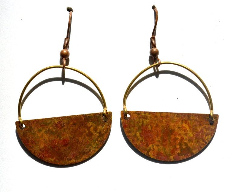 Half Circle Patina Earrings Copper Dangle Earrings Patina Copper Boho Blue Patina Copper Patina Rustic Patina Green Verdigris Earrings
